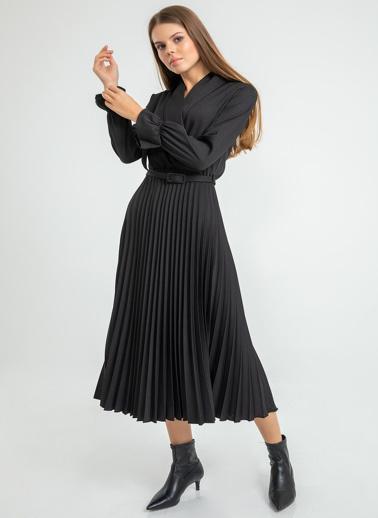 Foremia Atlas Piliseli Ceket Yaka Elbise Uzun Kol Siyah